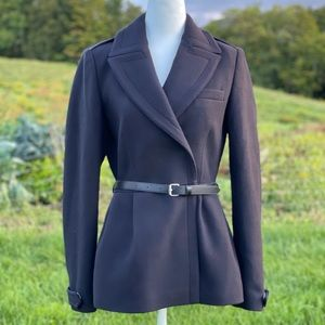 Burberry Brit Navy Blue Belted Wool Coat